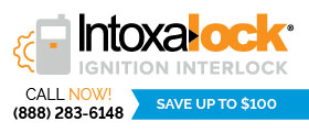 Advertisement for IntoxaLock ignition interlock - Call now! 888-283-6148